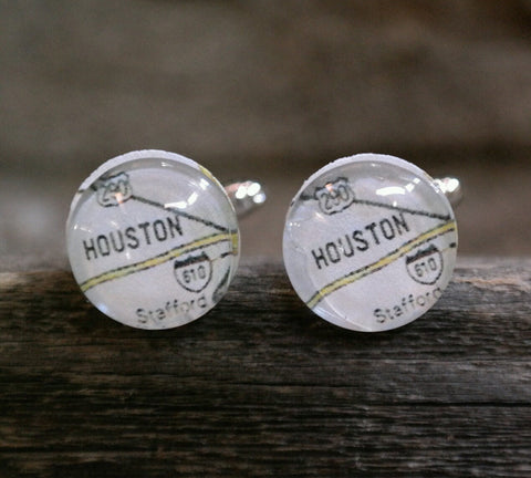 Houston Texas Map Cufflinks