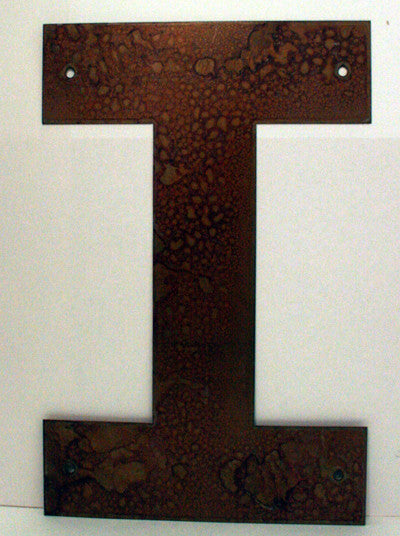 "Rusted Metal Letter I 12"" or 18"""