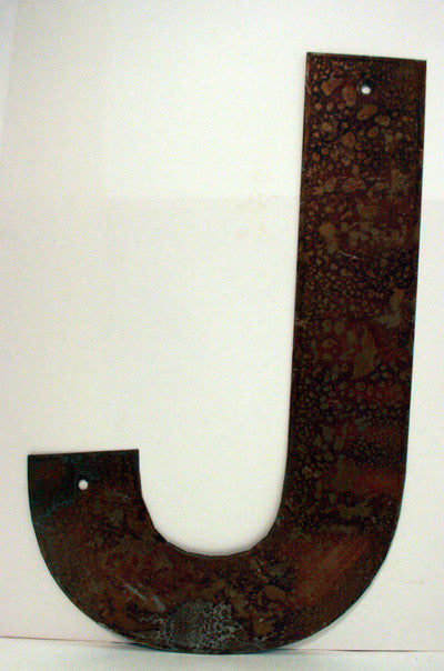"Rusted Metal Letter J 12"" or 18"""