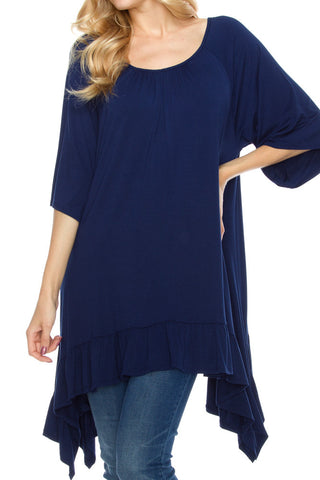 PLUS: Navy Ruffle Trim Top