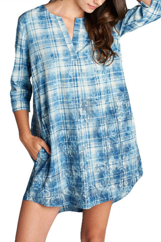 DRESS: Plaid Chambray Dress