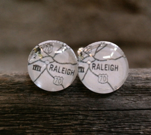 Raleigh North Carolina Map Cufflinks