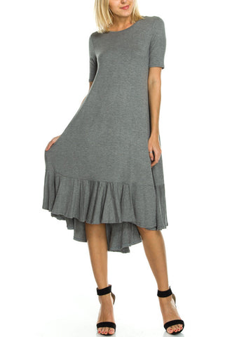 DRESS: Gray Ruffle Hem Dress