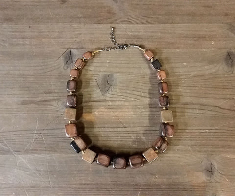 Square Wood Bead Necklace
