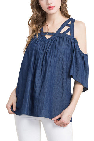 BLOUSE: Strappy Denim Cold Shoulder Blouse