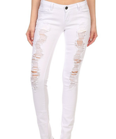 PANTS: Distressed White Skinny Jeans