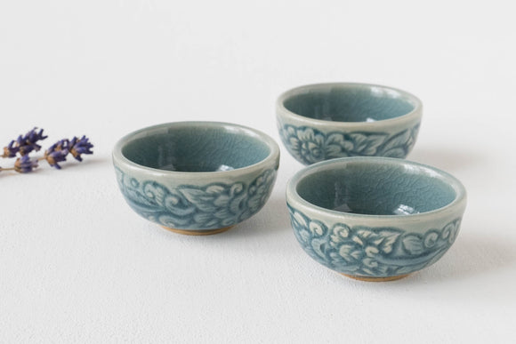 Celadon | Patterned Mini dish blue | Chiangmai  Celadon