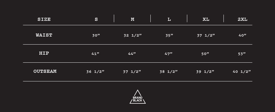 Size Chart for Stanley Cotton Pant - Black