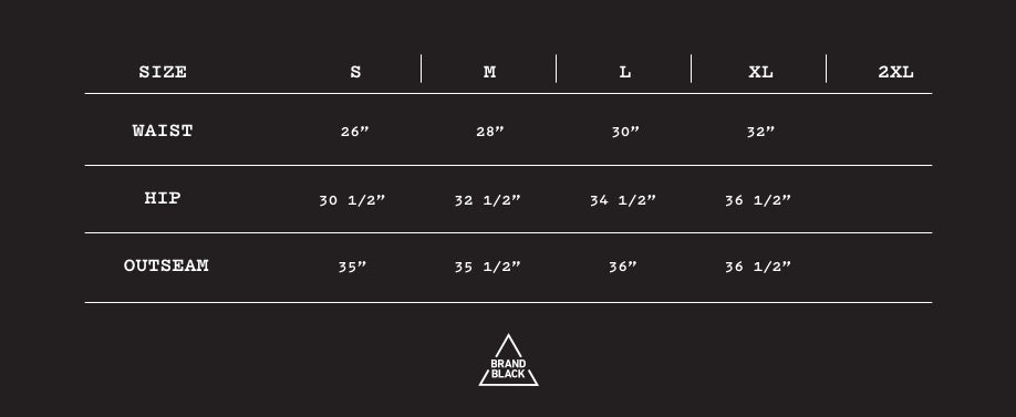 Size Chart for RUNNING TIGHT