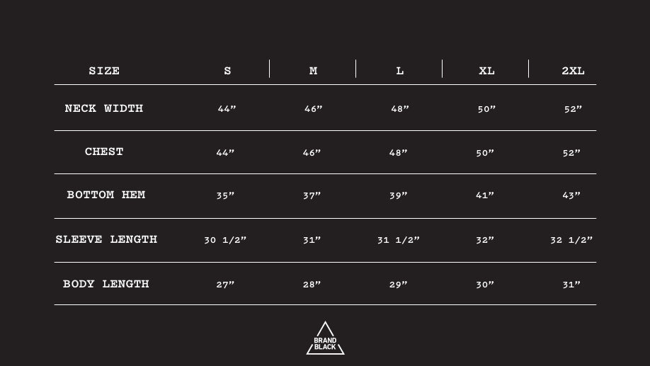 Size Chart for AMO
