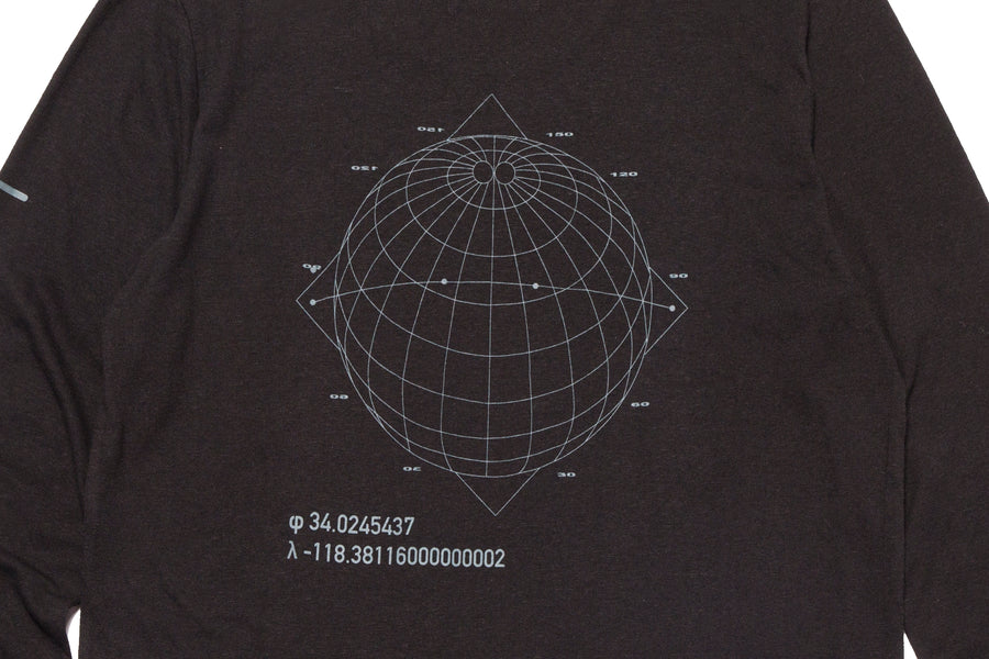 LS Crew Globe Tech Print Black