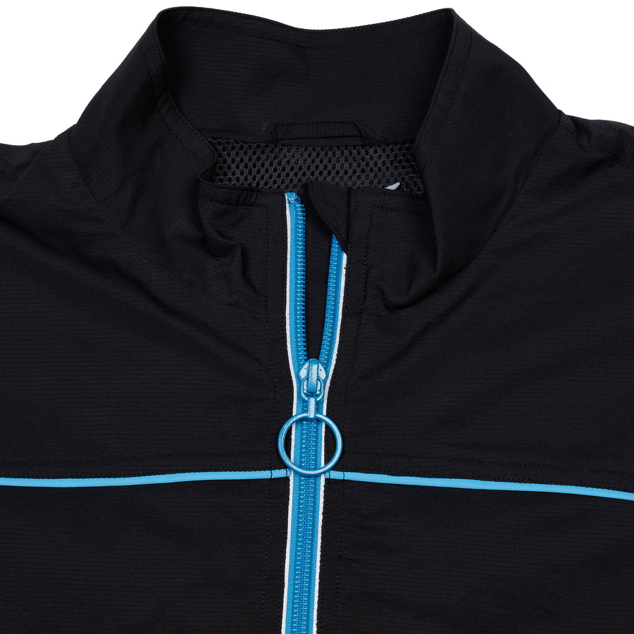 Nylon Jacket with Piping Black Blue