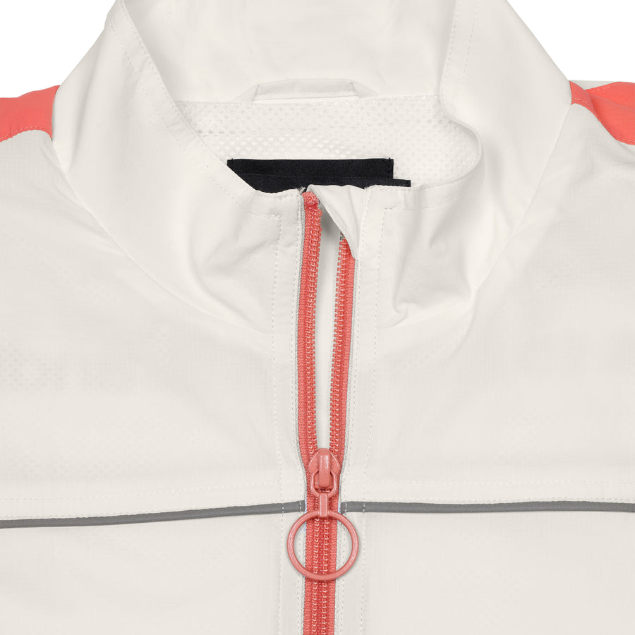 Nylon Jacket with Piping White