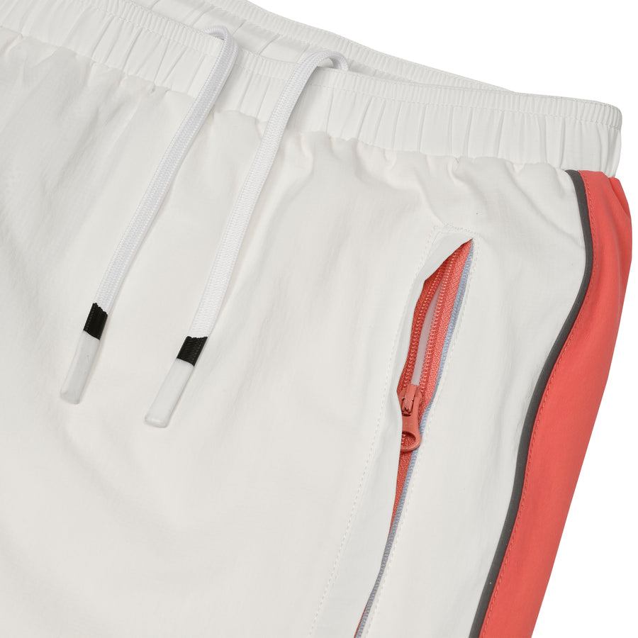 Nylon Track Pant with Piping White