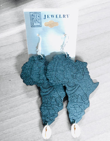 Africa Shaped Wood Earrings