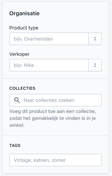 Shopify product specificaties