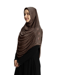 Mehar Hijab Modest Fashion Women's Hijab with Glittering Stone Design Stylish iCRA Feel Good Fabric Aasimah Hijab Formal Grey