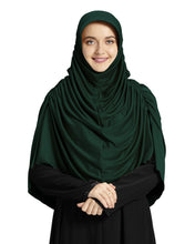 Load image into Gallery viewer, Mehar Hijab's Modest Women's Designed Fleeted Stylish iCRA Feel Good Fabric FAHEEMA BOTTLE GREEN HIJAB