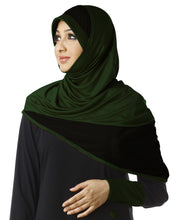 Load image into Gallery viewer, Mehar Hijab's Muslim Modest Women's Stylish Poly Cotton Dual Colour Instant Hijab FIDA  BOTTLE GREEN-BLACK XL