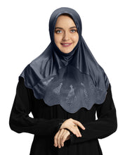 Load image into Gallery viewer, Mehar Hijab Modest Fashion Women's Hijab with Glittering Stone Design Stylish iCRA Feel Good Fabric Meharban Hijab Grey