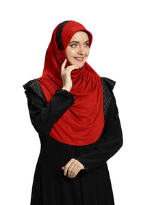 Red shade Hijab Naaz Modestly stylish mehar Hijab collection online