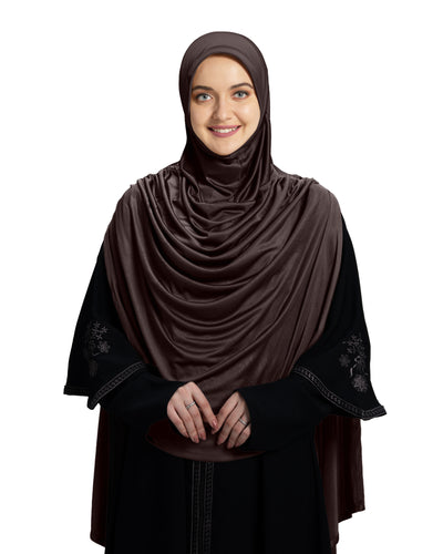 Mehar Hijab's Modest Women's Designed Glittering Stones Stylish Pleated with iCRA Feel Good Fabric  SHAMMA  Long Hijab  Formal Grey