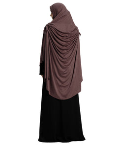 Coffee Shade Long Frilled Women's mehar Hijab
