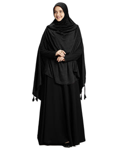 Soft Black Shade Long Frilled Women's mehar Hijab