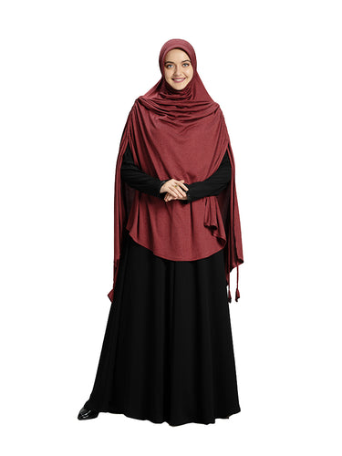 Maroon Colour Full covered Modest and Stylish Instant Hijab