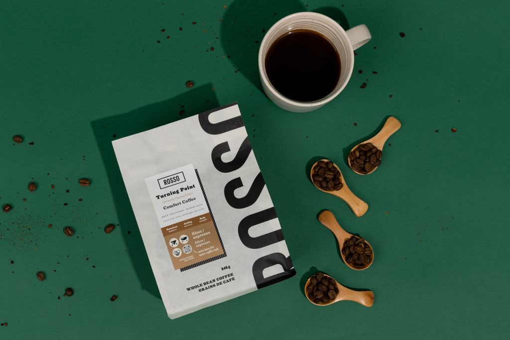 Turning Point medium roast coffee beans and grinds