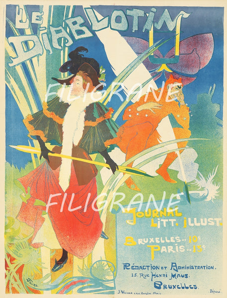PUB LE DIABLOTIN JOURNAL Rwuk-POSTER/REPRODUCTION  d1 AFFICHE VINTAGE