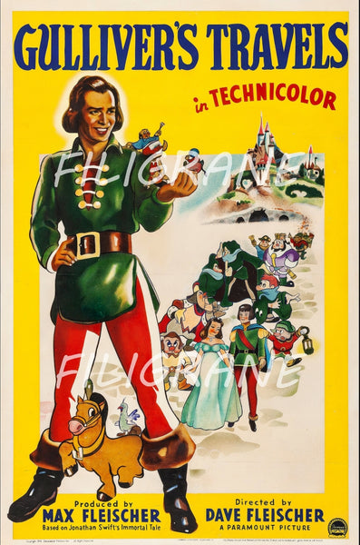 CINéMA GULLIVER'S TRAVELS Rkyn-POSTER/REPRODUCTION d1 AFFICHE VINTAGE
