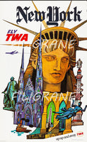 AIRLINES NEW YORK TWA Rumf-POSTER/REPRODUCTION d1 AFFICHE VINTAGE