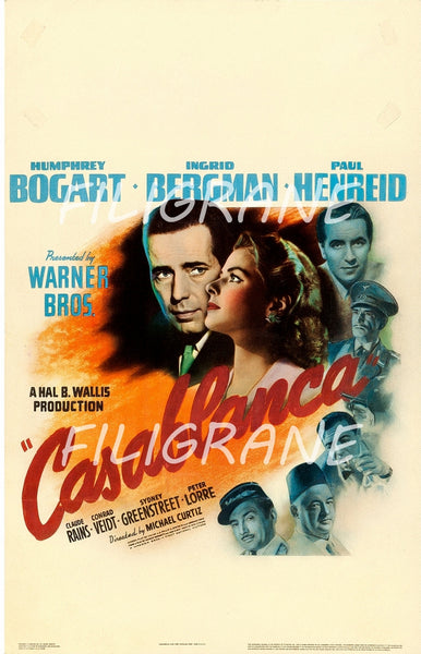 CASABLANCA FILM Rhnv-POSTER/REPRODUCTION d1 AFFICHE VINTAGE