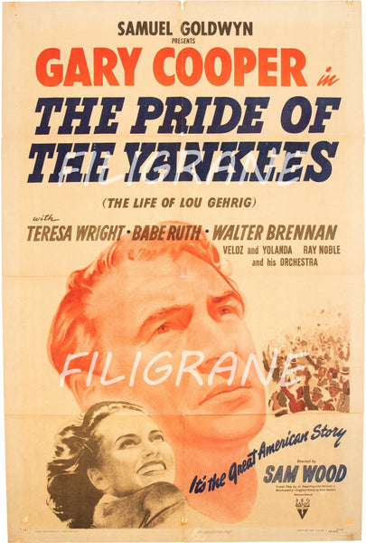 CINéMA THE PRIDE of THE YANKEES  Roez-POSTER/REPRODUCTION d1 AFFICHE VINTAGE