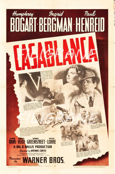 CASABLANCA FILM Rpos-POSTER/REPRODUCTION d1 AFFICHE VINTAGE