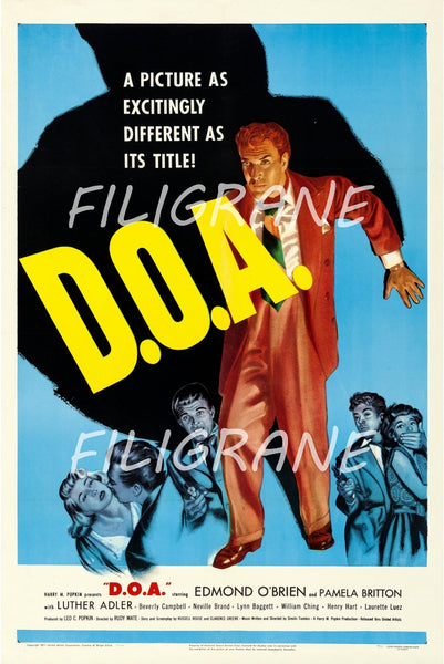 D.O.A FILM Rnxn-POSTER/REPRODUCTION d1 AFFICHE VINTAGE