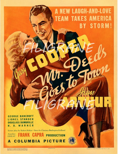 CINéMA MR DEEDS GORS TO TOWN Rmxj-POSTER/REPRODUCTION d1 AFFICHE VINTAGE