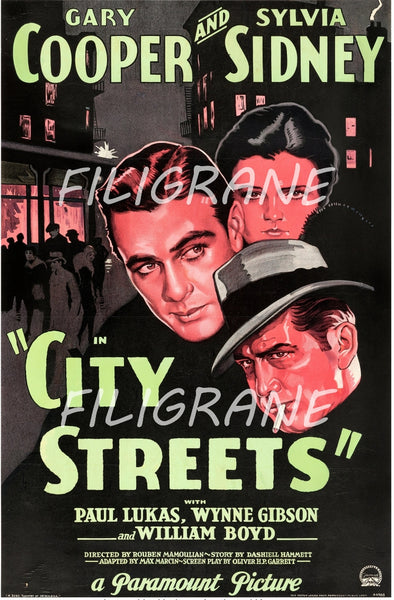CITY STREETS FILM Rwwq-POSTER/REPRODUCTION d1 AFFICHE VINTAGE