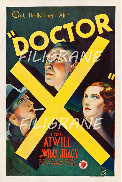 DOCTOR X FILM Rubk-POSTER/REPRODUCTION d1 AFFICHE VINTAGE