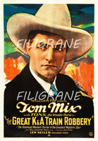 FILM TOM MIX GREAT K&A ROBBERY Ryos-POSTER/REPRODUCTION d1 AFFICHE VINTAGE
