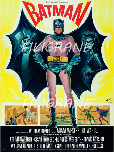 BATMAN FILM Rajm-POSTER/REPRODUCTION d1 AFFICHE VINTAGE