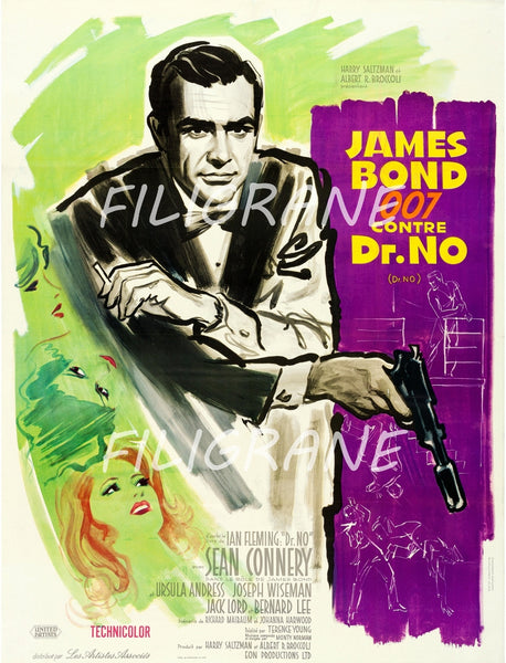 Dr NO FILM BOND 007 Ruux-POSTER/REPRODUCTION d1 AFFICHE VINTAGE
