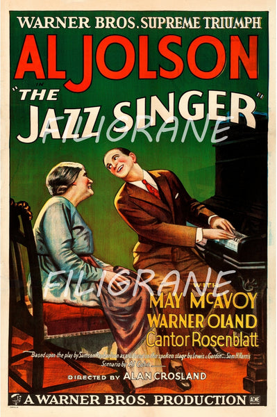 CINéMA THE JAZZ SINGER AL JOLSON Rroa-POSTER/REPRODUCTION d1 AFFICHE VINTAGE