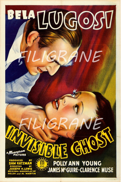 INVISIBLE GHOST FILM Rejo-POSTER/REPRODUCTION d1 AFFICHE VINTAGE