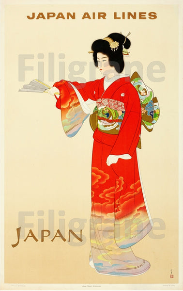 AIRLINES JAPAN AIR LINES Rvyv-POSTER/REPRODUCTION d1 AFFICHE VINTAGE