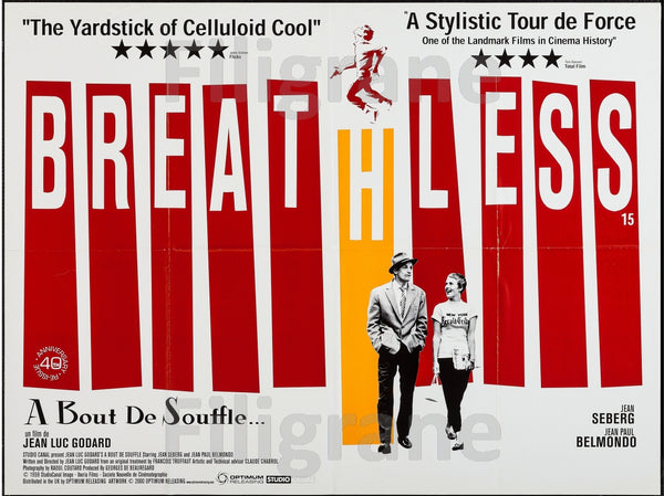 BREATHLESS FILM Rbsa-POSTER/REPRODUCTION d1 AFFICHE VINTAGE