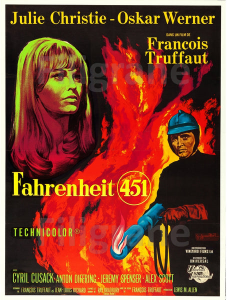 FAHRENHEIT 451 FILM Rtif-POSTER/REPRODUCTION d1 AFFICHE VINTAGE