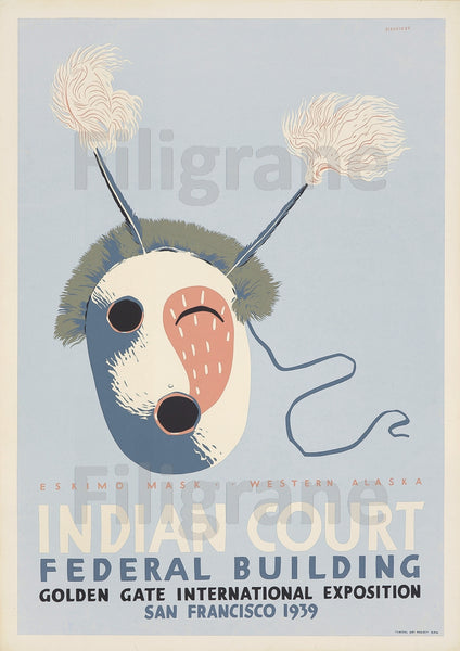 INDIAN COURT EXPO 1939 Rrtp-POSTER/REPRODUCTION  d1 AFFICHE VINTAGE