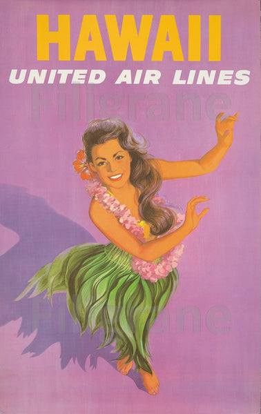 HAWAII UNITED AIRLINES Rmhz-POSTER/REPRODUCTION  d1 AFFICHE VINTAGE